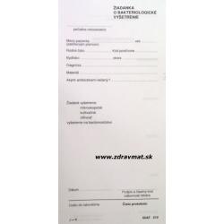Žiadanka o bakteriologické vyšetrenie - 210x100 mm list