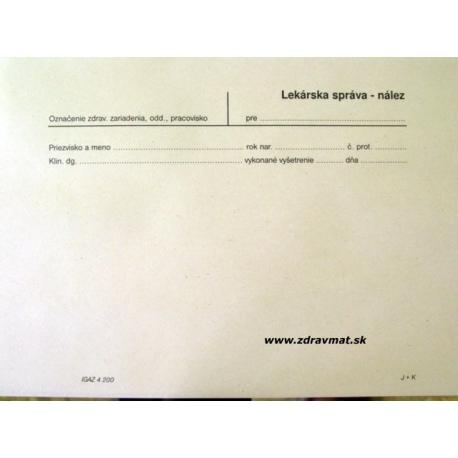 Lekárska správa nález A5 list, recyklovaný papier