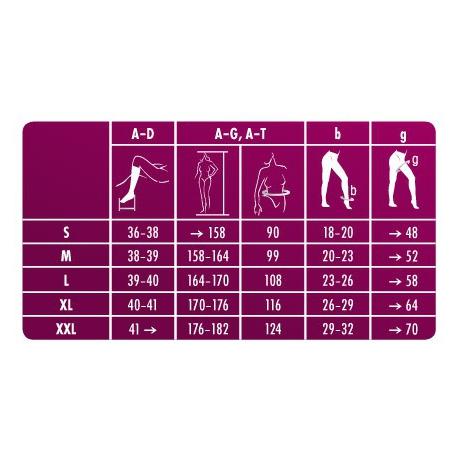 Rozmerová tabuľka 70 DEN - 140 DEN RELAX