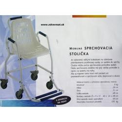 Sprchovacia stolička mobilná s opierkou na nohy