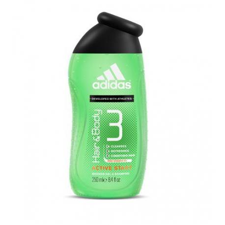 Adidas Hair & Body 3 Active Start - sprchový gel na tělo a vlasy 250 ml