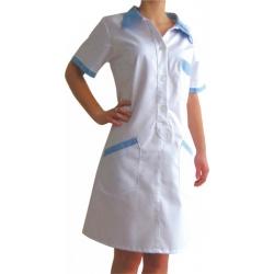 Šaty JESSICA 46 biela/sv. modrá - skladom ihneď k odberu 1ks