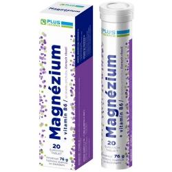 Plus lekáreň Magnézium + Vitamín B6 s príchuťou čiernych ríbezlí, 20 šumivých tabliet