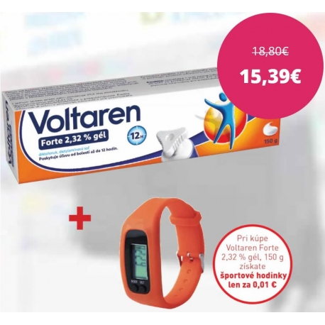 Voltaren Forte 2,32 % gél, 150 g + športové hodinky