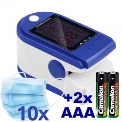 MANTA PUO001 Pulzný oximeter + 10ks chirurgických rúšok