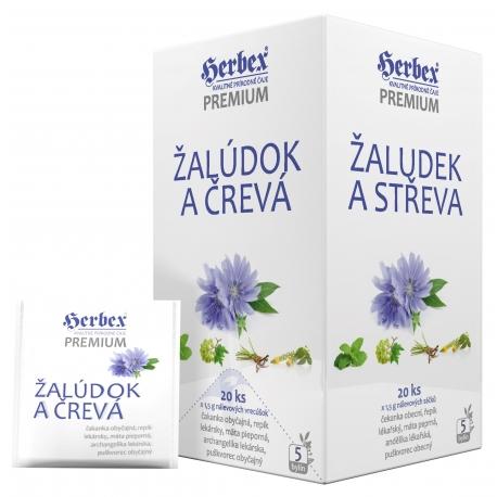 HERBEX Premium ŽALÚDOK A ČREVÁ bylinná zmes čaj 20 x 1,5 g